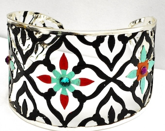 Black and Silver Filigree Cuff Bracelet Painted Bohemian Jewelry FREE SHIPPING