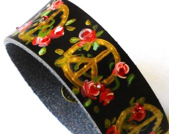 Peace Sign Leather Bracelet Hand Painted Roses Bohemian Jewelry FREE SHIPPING