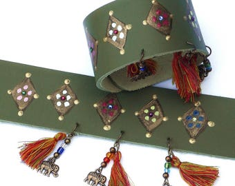 Funky Elephant Green Leather Cuff Bracelet with Tassels Bohemian Indian Jewelry FREE SHIPPING