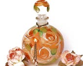 Painted Peach Orange Roses Glass Perfume Bottle with Stopper Cap Victorian Boho Decor FREE SHIPPING
