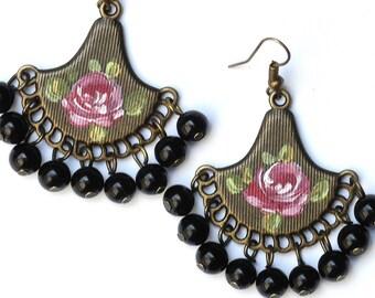 Boho Rose Chandelier Earrings Bohemian Romantic Jewelry FREE SHIPPING