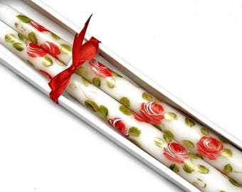 Hand Painted Red Rose White Taper Candles Cottage Shabby Chic Romantic Decor FREE SHIPPING