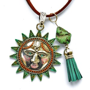 Large Silver Sun Pendant Leather Necklace Boho Jewelry Bohemian Accessories FREE SHIPPING