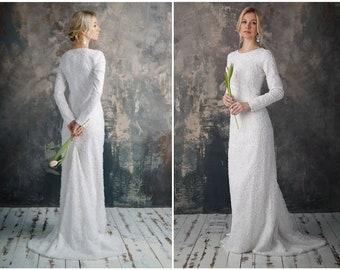 Silver wedding dress   Etsy