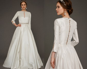 EKDERA Modest Simple Wedding Dress With Long Sleeves Bridal Color Baroque Pearl Luxury Taffeta Magnificent Gown