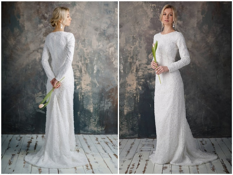 Wedding Dress With Sleeves.Lutta Long Sleeve Wedding Dress Elegant Tight Fit Bridal Gown Mermaid Lace Boho Simple Modest Brautkleid White Silver Plus Size Romantic