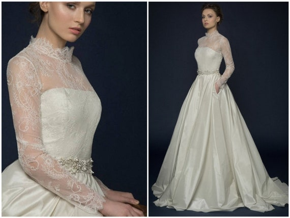 Ampella Romantic Lace Illusion Long Sleeve Wedding Dress Unique Corset Wedding Gown With Sheer Back Lace Corset Brautkleid With Pockets