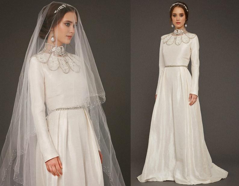 b5d06fec77 VAZILIKI / long sleeve ivory wedding dress a line wedding gown   Etsy