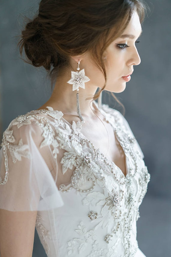 Anisia Embroidery Lace Wedding Dress Low Sexy Embroidery Etsy
