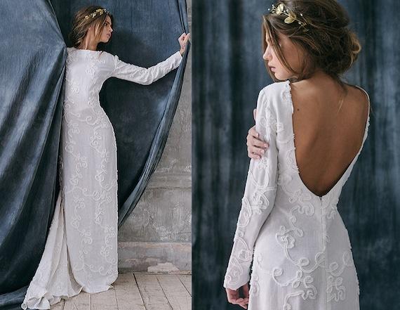 Razia / Böhmische rustikale Hochzeitskleid Leinen Alternative | Etsy