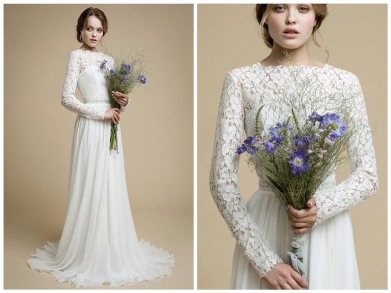 Long Sleeve Lace Wedding Dress Inna Boho Wedding Dress Corset Bridal Gown Simple Modest Wedding Dress Winter Wedding Gown Floral Lace