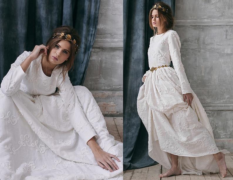 Rustic Boho Wedding Dress Long Sleeve Winter Wedding Dress Linen Alternative White Wedding Separate Bohemian Bridal Gown Cotton Rabia