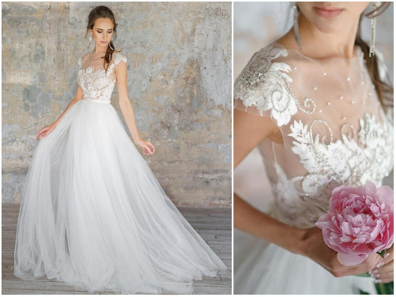 b491a272ffe FLANIA Delicate lace tulle wedding dress with open back