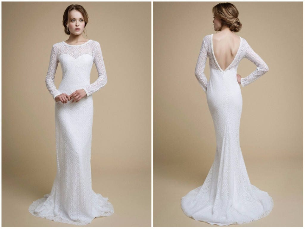 Mermaid Wedding Gowns With Sleeves: UMELIA / Mermaid Wedding Dress Long Sleeve Wedding Dress