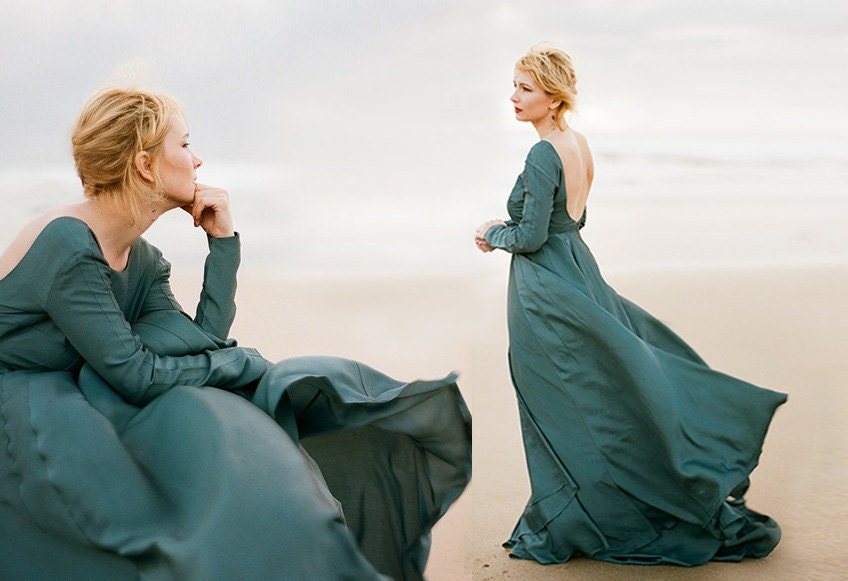 Penesula Dark Emerald Romantic Wedding Gown Alternative Etsy