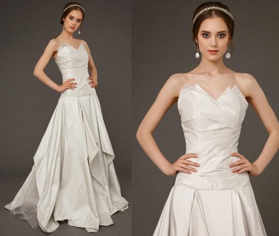 GERET / light grey wedding dress italian tafetta skirt | Etsy
