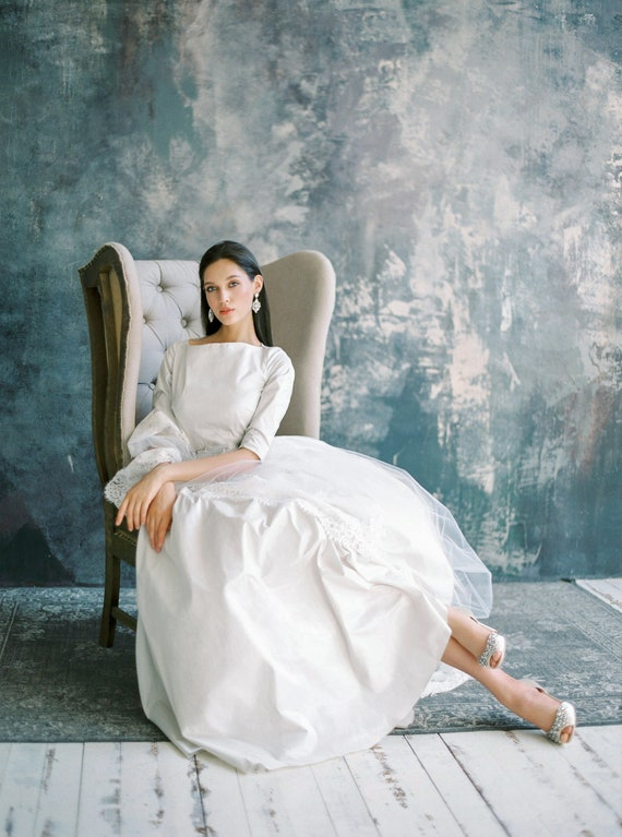 Modest Classic Wedding Dress With Long Sleeves And Boat Neck Etsy