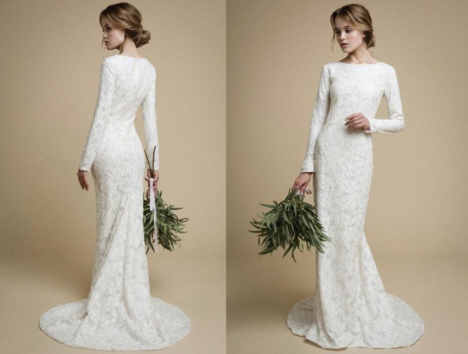 Utta Long Sleeves Wedding Dress Elegant Tight Fit Wedding Etsy
