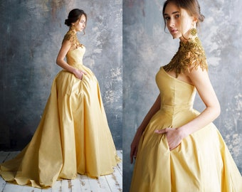 EMASA / gold dress Golden Exclusive Luxury  Special Events Evening Maxi Dress Prom Wedding Golden Dress A Style Bridesmaid dress