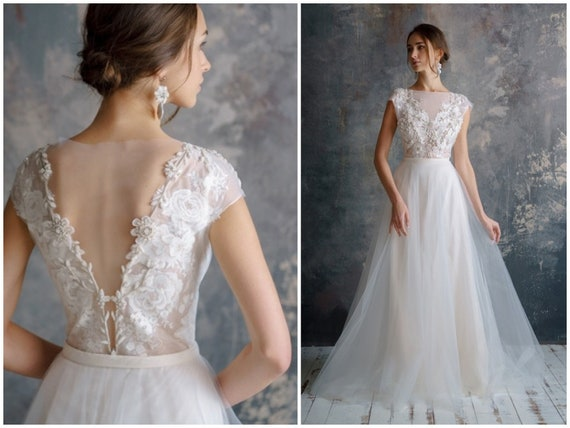 Filali 3d Lace Embroidery Wedding Dress Low Sexy Embroidery Etsy