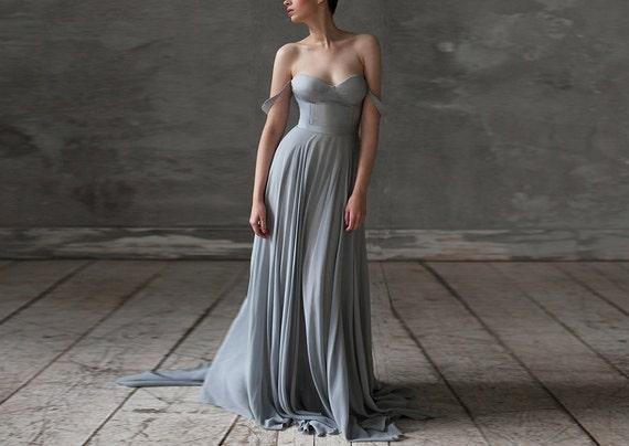Eeribiya / Grey Wedding dresses silk wedding dress boho | Etsy
