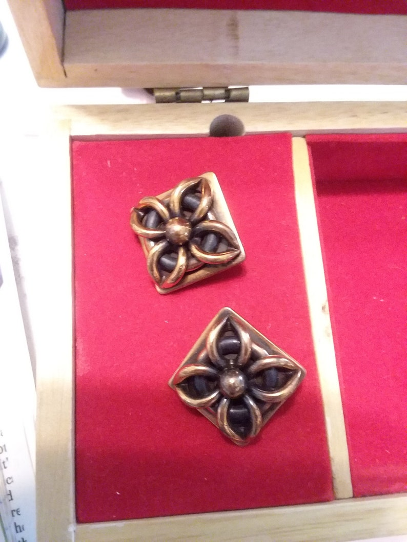 Robaje copper and black art deco style clip on earrings
