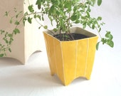 Plant pot. Square ceramic planter for succulent or cactus
