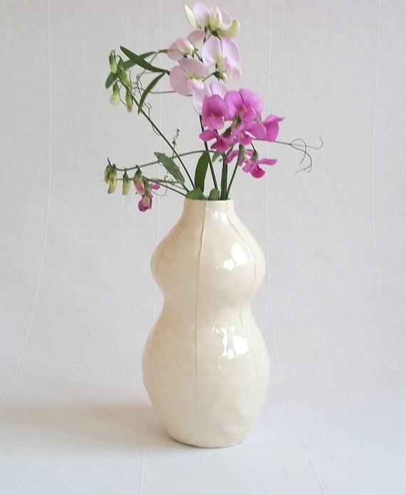 White Vase Ceramic Simple Modern Shape White Pottery Vase Etsy