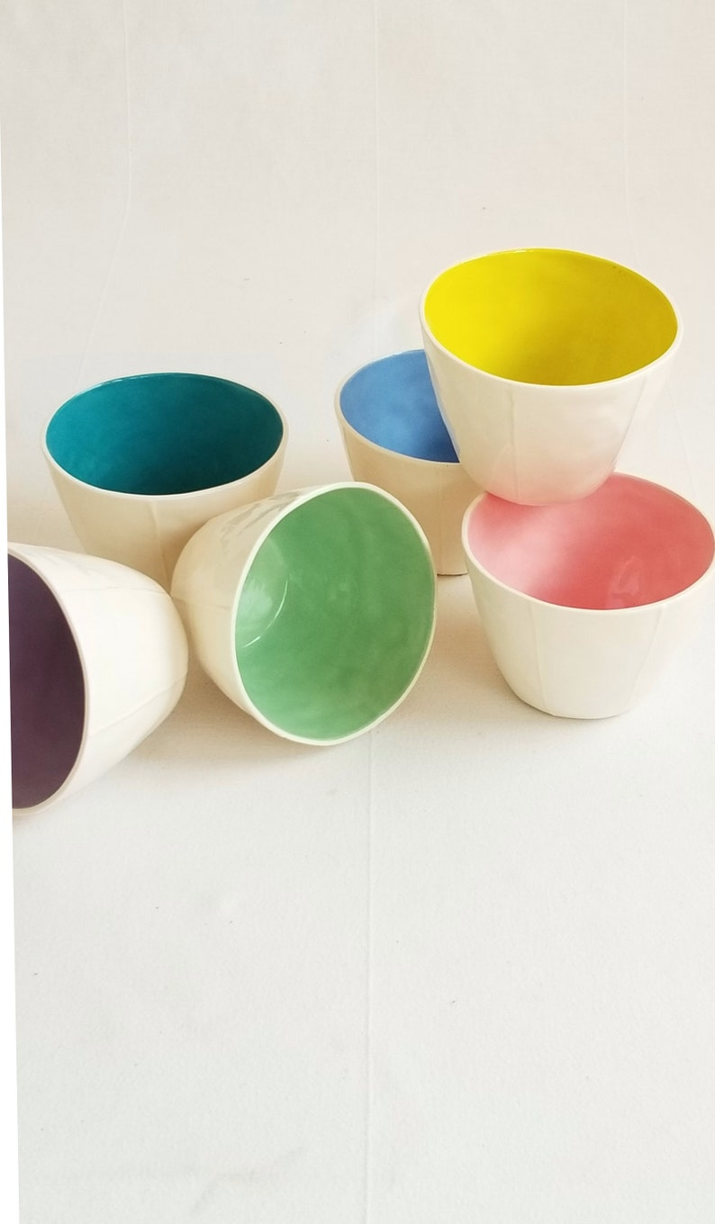 Ceramic tumblers. Coffee dessert soup or fruit cups image 0