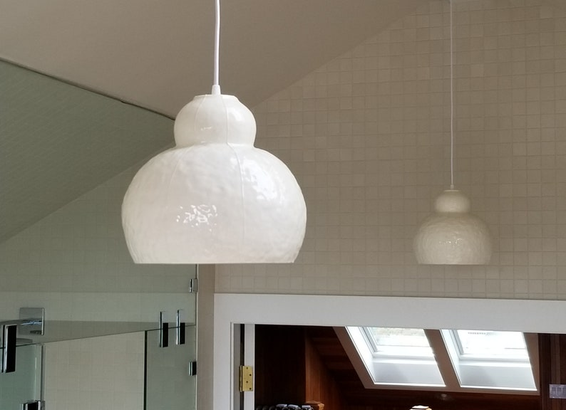 Large pendant light fixture. Hanging lamp for dining area White