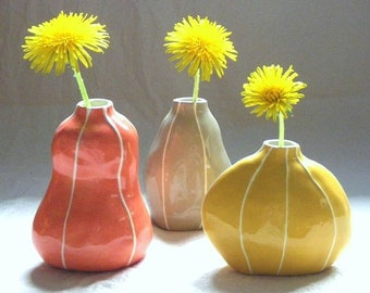 Set of 3 ceramic bud vases. Fall colors for home office