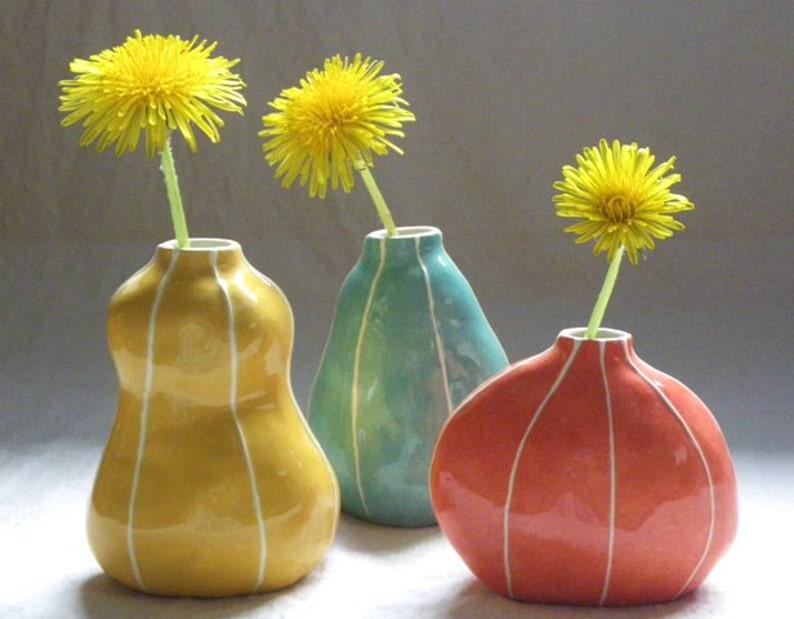 Set of 3 ceramic bud vases. Handmade gift idea yellow jade coral