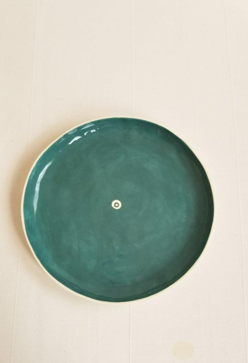 Shallow serving tray for appetizers kRI kRI Studio Colorful handmade tableware Seattle Ceramic plate Rustic modern dinner platter