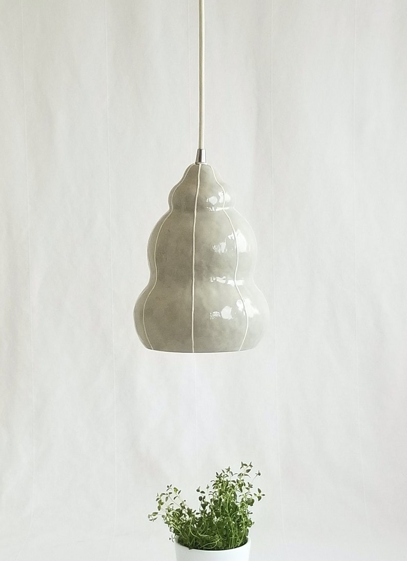 Pendant light fixture for kitchen island or bedside Gray