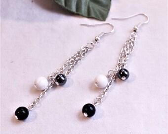 Black & White Pearl Dangle Drop Earrings - Handmade Earrings - Pearl Earrings - Onyx - Hematite - Howlite