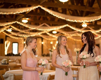 20ft Lighted Tulle Garland - 20 feet long with 100 lights Wedding Ceremony Decor Decorations Weddings Staircase Bunting, Swags, Aisle Decor