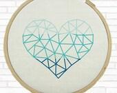 Ombre Geometric Heart Cross Stitch