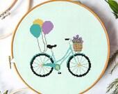 Bike and Balloons Cross Stitch