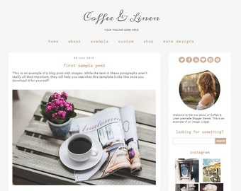Premade Blogger Template Theme - Coffee & Linen