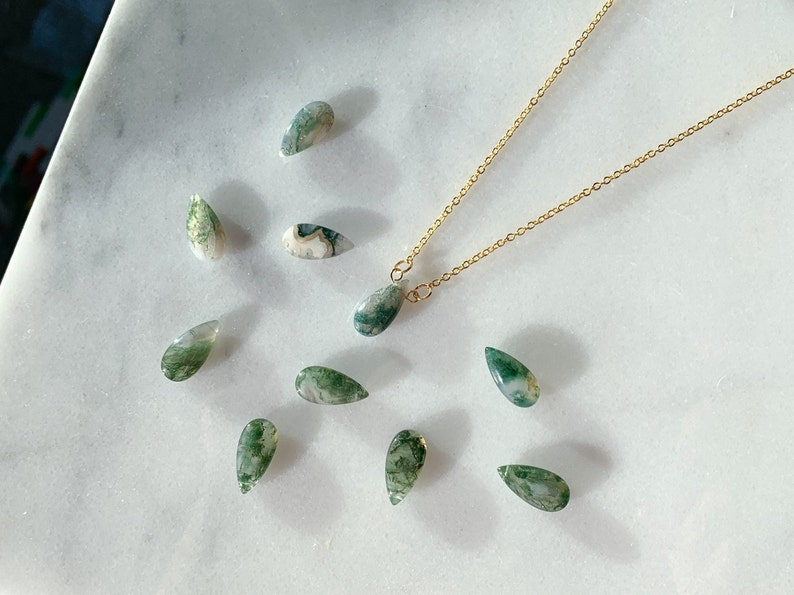 dainty gold necklace moss agate necklace wire wrapped crystal necklace in gold Moss agate teardrop necklace