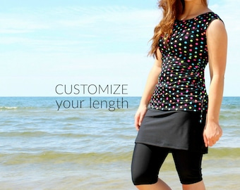 880759e2abd SwimBottoms - CUSTOMIZE YOUR LENGTH - Modest Swimwear Leggings with  Attached Skirt - Womens Swimsuit