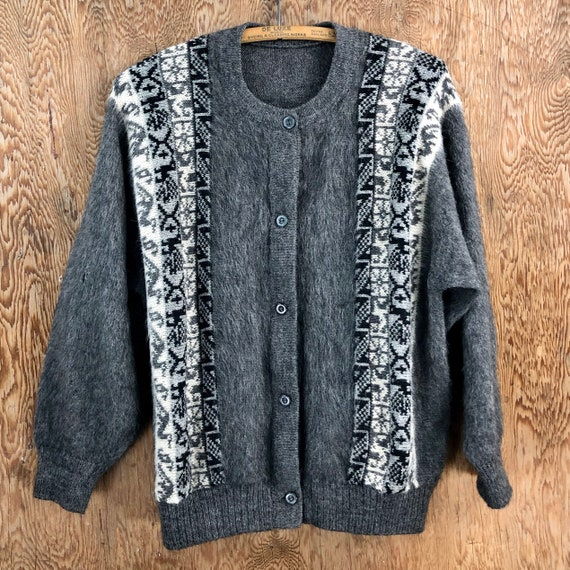 Vintage 1950's Soft Mohair Wool Cardigan Sweater L