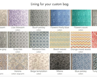 Lining for your custom bag.