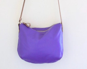 Lavender lamb bag purse, lavender leather crossbody bag, small leather bag, gift for her   Borla