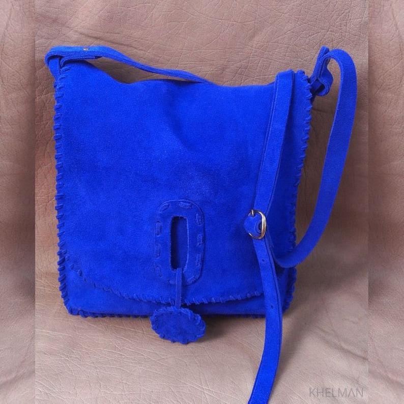 8ddd57f7df2e Sale Blue suede leather bag blue leather crossbody bag