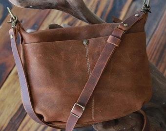 Brown bag purse leather crossbody bag purse, vintage brown purse, custom leather bag, gift for her   Borla