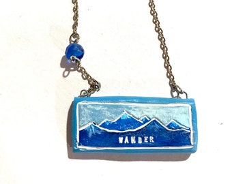 Wander polymer clay pendant necklace original art by Cortney Rector Designs