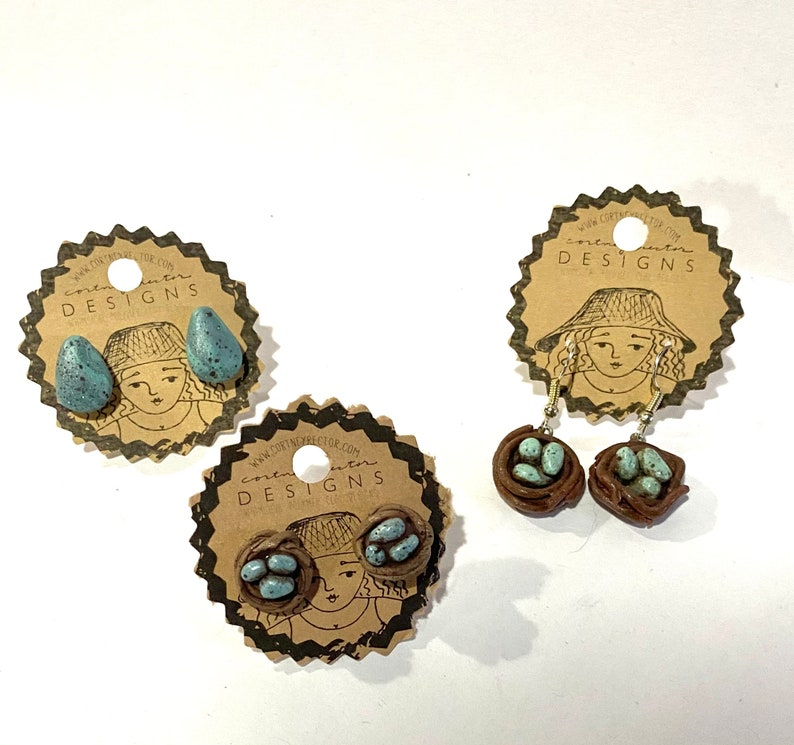 Bird nest stud earrings made from polymer YOU CHOOSE pale blue or yellow eggs
