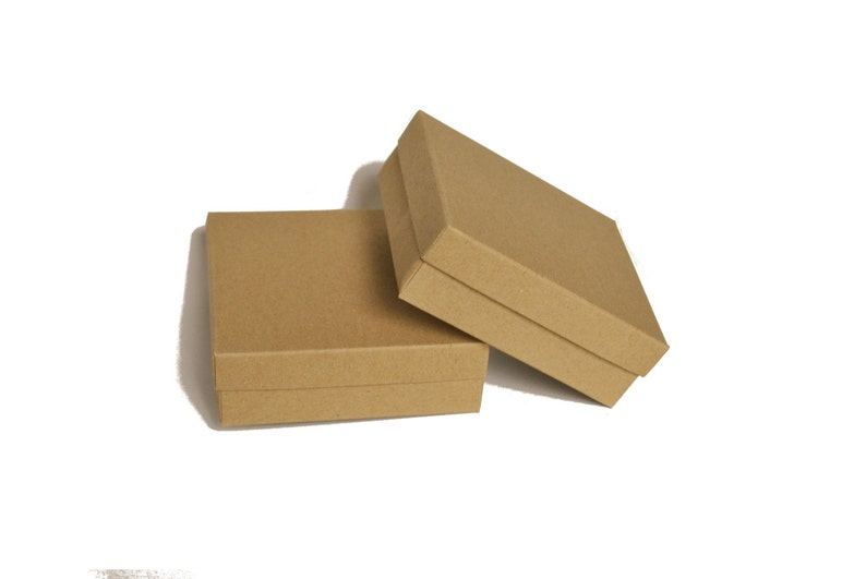 45 Jewelry boxes with lid I Kraft brown grey white image 0