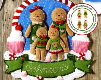 Bucilla 86835 Gingerbread Family Wallhanging Kit